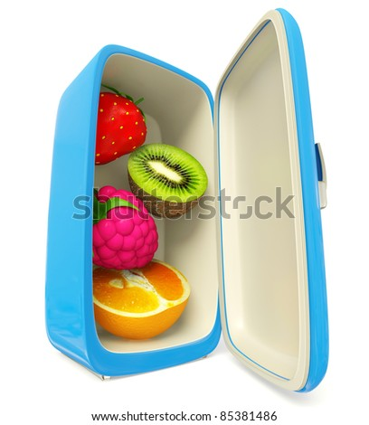 fresh fruits in a refrigerator on a blue background - stock photo