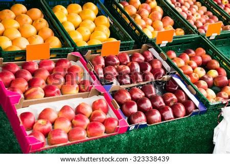Fresh Fruits In Box Displayed At Market - stock photo