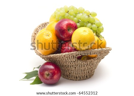 fresh fruits in the basket - stock photo