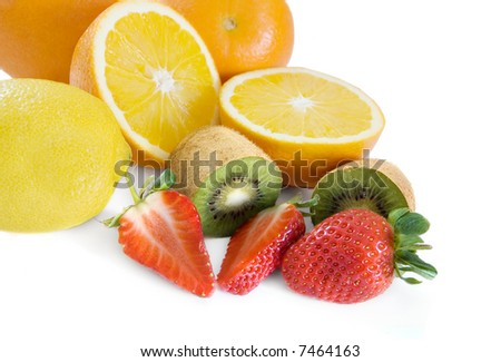 Fresh fruits isolated on a white