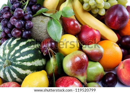 Fresh fruits isolated on a white background. Set of different fresh fruits. - stock photo