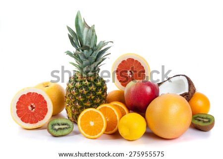 Fresh fruits isolated on a white . Set of different fresh fruits