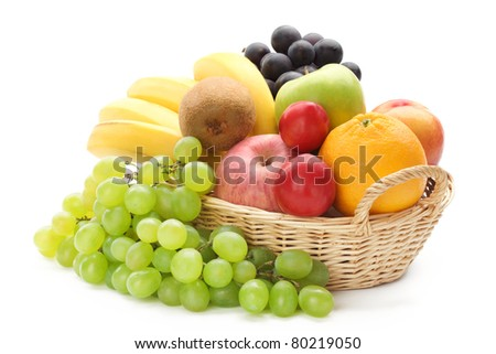 Fresh fruits isolated on white background. - stock photo