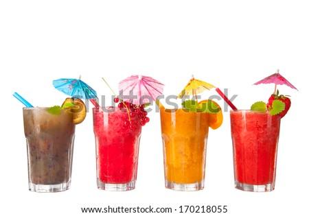 Fresh fruits, juice drinks isolated on white background - stock photo