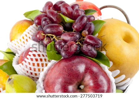 Fresh fruits mix on white background.