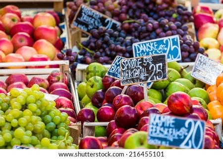 Fresh fruits on a farm market in Copenhagen, Denmark. - stock photo
