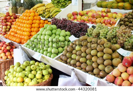 fresh fruits on a traditional market - stock photo