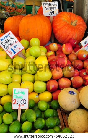 Fresh fruits on display in a farmers market - stock photo