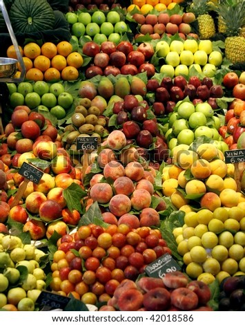 Fresh fruits on the market stall - stock photo