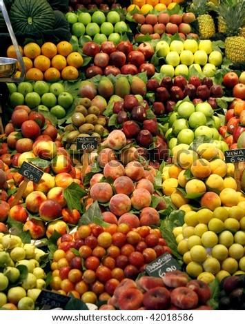 Fresh fruits on the market stall - stock photo
