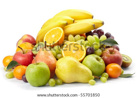fresh fruits on the white background - stock photo