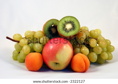 fresh fruits on white