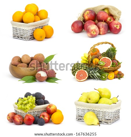 fresh fruits on white background - collage