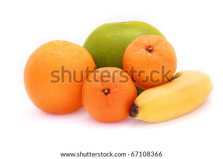 fresh fruits. Orange, babana. mandarine, switi.