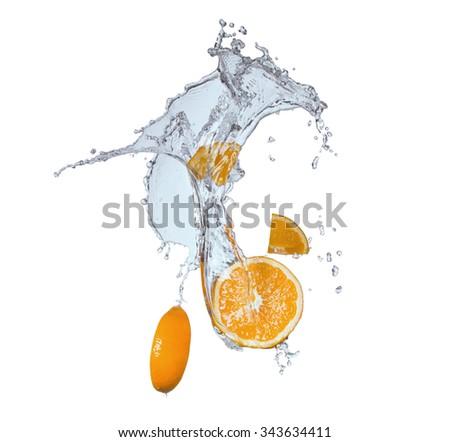 Fresh fruits, orange falling in water splash, isolated on white  - stock photo