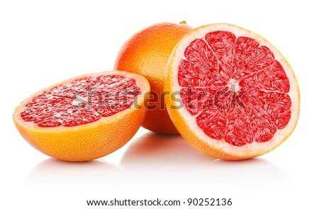 fresh fruits orange lemon grapefruit in cut isolated on white background - stock photo