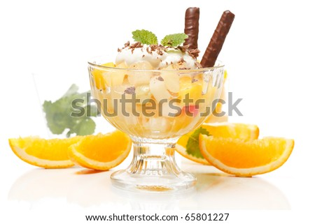 Fresh fruits salad with mint - stock photo