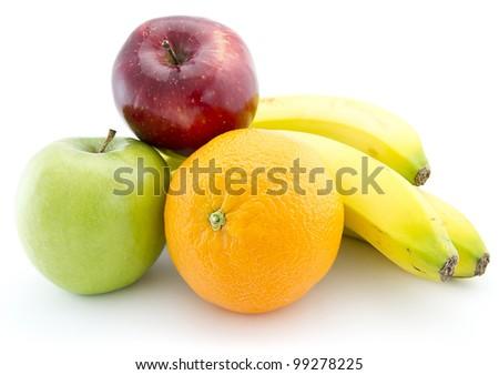 Fresh fruits set over monochrome white background - stock photo
