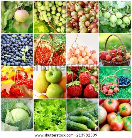 Fresh fruits, vegetables, berries - stock photo