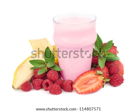 Fresh fruits with banan and smoothies on white - stock photo
