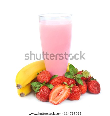 Fresh fruits with bananas and smoothies on white
