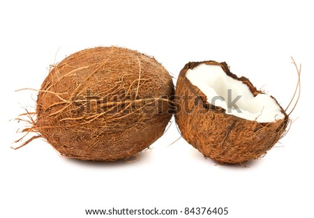 Fresh full and half of coconut isolated on white background - stock photo