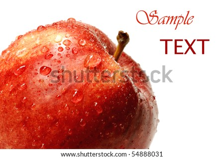 Fresh gala apple with water droplets on white background with copy space. - stock photo