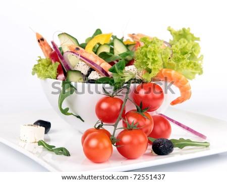 Fresh garden salad with cherry tomatoes - stock photo