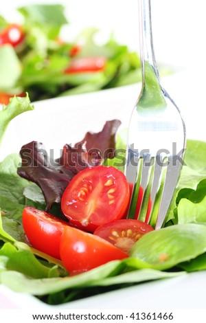 fresh garden salad with fork - stock photo