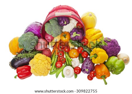 Fresh Garden vegetables picked, cleaned and ready for market.  Shot on white background. - stock photo