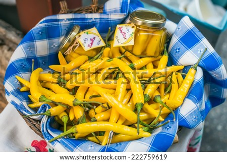 Fresh garden yellow peppers at a farmers' market in Budapest, Hungary - stock photo