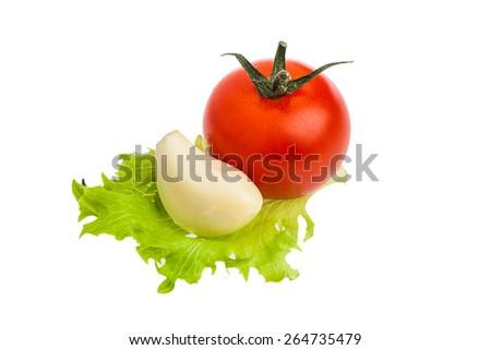 Fresh garlic and ripe red tomato isolated on white background. - stock photo