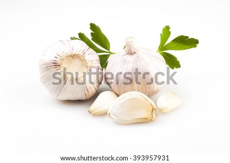 Fresh garlic isolated on white background - stock photo