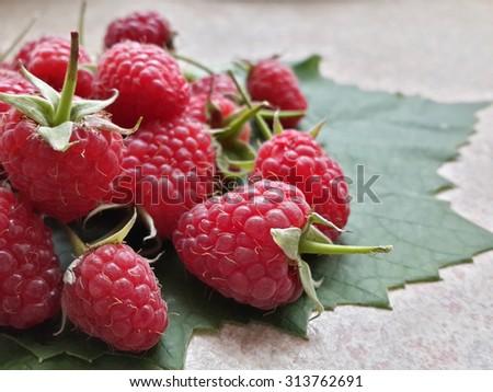 Fresh gathered raspberries - stock photo