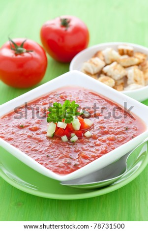fresh gazpacho with croutons - stock photo
