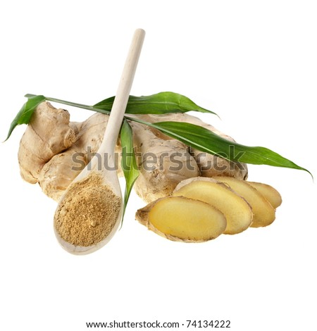fresh ginger and powder in the wooden spoon  isolated on white background