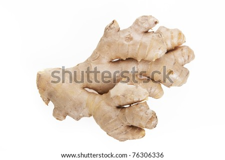 Fresh ginger root isolated on a white background. - stock photo