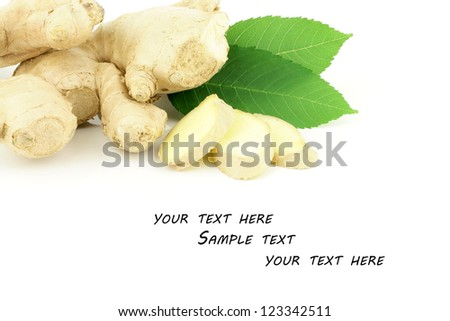 Fresh ginger root (Zingiber officinale) on a white background. - stock photo
