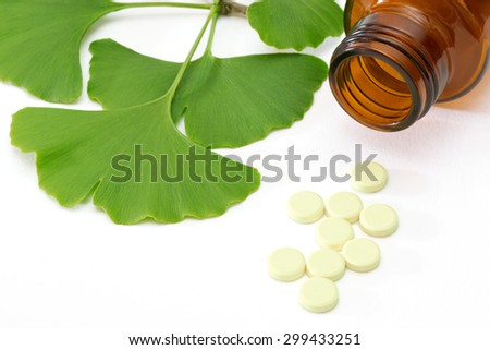 Fresh ginkgo leaves with pills and brown medicine bottle - stock photo
