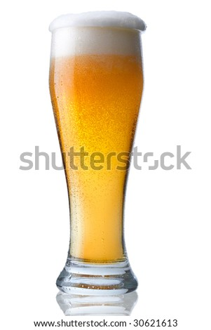 Fresh glass of beer with froth and condensed water pearls. The file includes a clipping path.