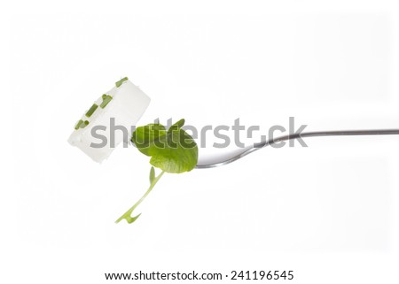 Fresh goat cheese clicked on a fork - stock photo