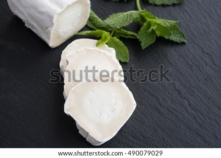 Fresh goat cheese with mint on black background