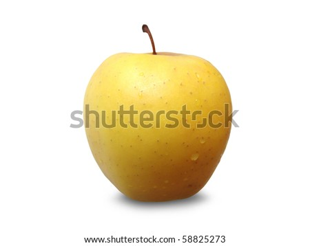 Fresh golden apple isolated on a white background - stock photo