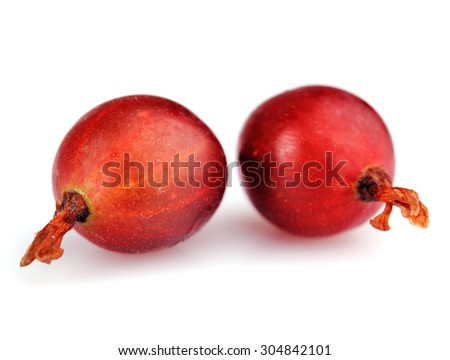 Fresh gooseberries isolated on white - stock photo