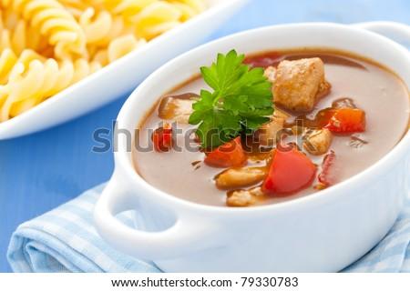 fresh goulash and pasta - stock photo