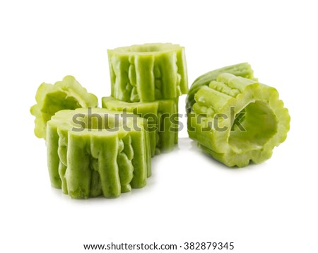 Fresh gourd vegetable round of isolated - stock photo