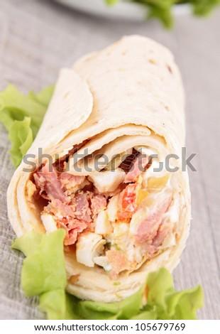 fresh gourmet wrap - stock photo