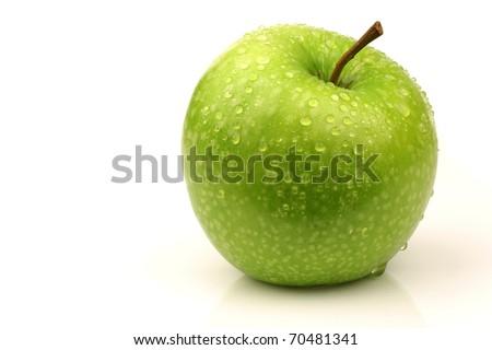 """fresh """"Granny Smith """" apple on a white background - stock photo"""