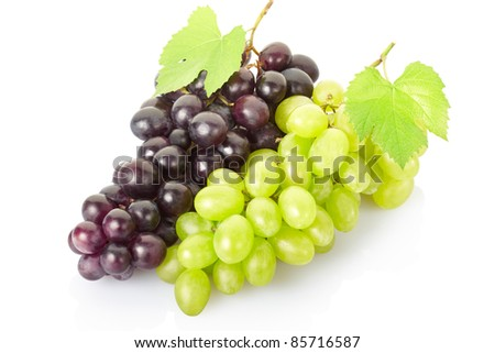 Fresh grape fruit isolated on white, clipping path included