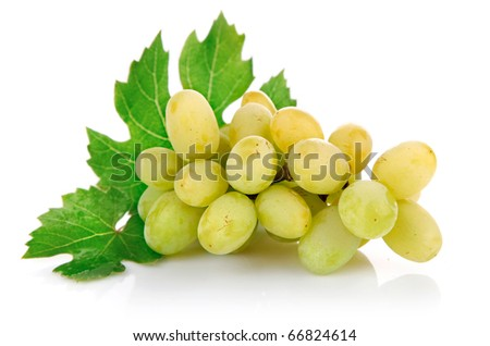 fresh grape fruits with green leaves isolated on white background - stock photo
